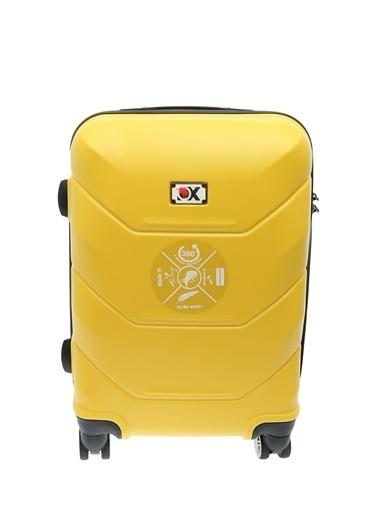 Ox Ox Kabin Boy Çekçekli Sert Valiz Sarı